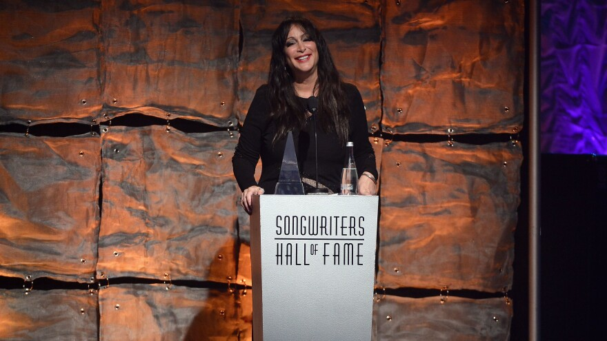Holly Knight onstage at the Songwriters Hall of Fame 44th Annual Induction and Awards Dinner in 2013.