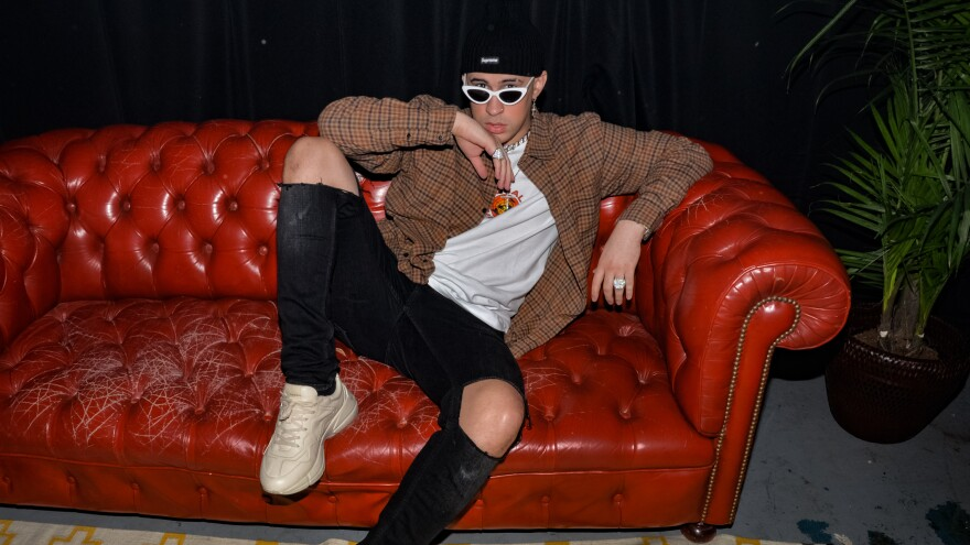 Bad Bunny backstage at Apple Music's 'Up Next' Artist concert in Miami, Fl. in March 2018.