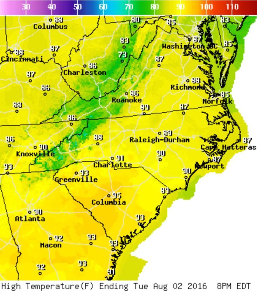 Map shows high temperatures for the mid-Atlantic region. Bright yellow signals temperatures in the 90s.