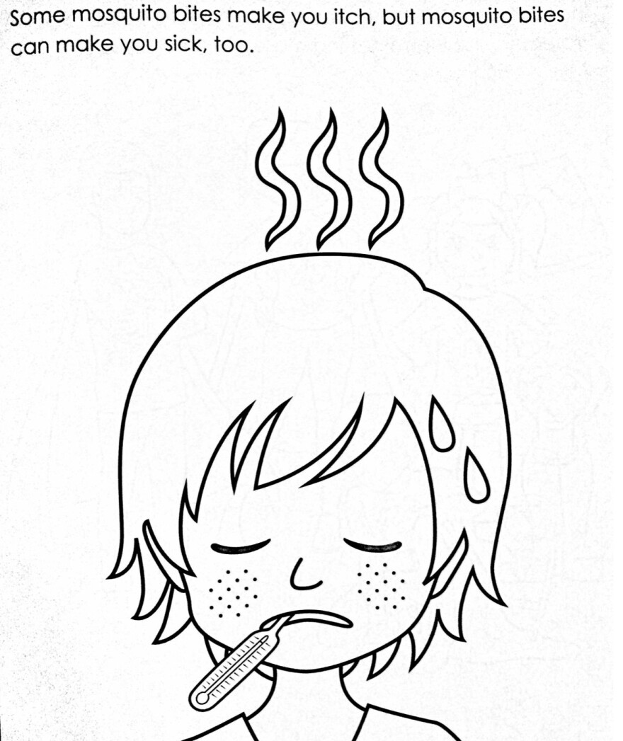 """A page from a CDC coloring book on mosquito-borne illnesses : """"Some mosquito bites make you itch, but mosquito bites can make you sick, too."""""""