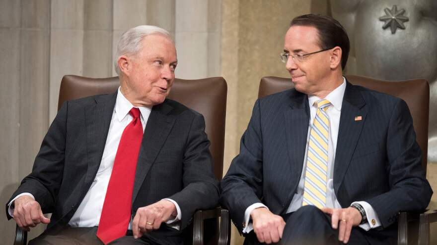 Then-Attorney General Jeff Sessions, left, and Deputy Attorney General Rod Rosenstein attend the U.S. Marshal Service's Director's Honorary Awards ceremony in Washington, D.C, on November 1, 2018.