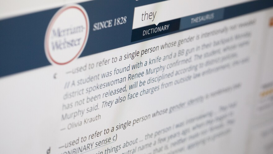 A search for the word <em>they</em> on Merriam-Webster's website turns up definitions for the personal pronoun, which saw a massive spike in lookups this year over last. Several months ago the dictionary added a definition for its 2019 Word of the Year that classified it as a functioning nonbinary pronoun.