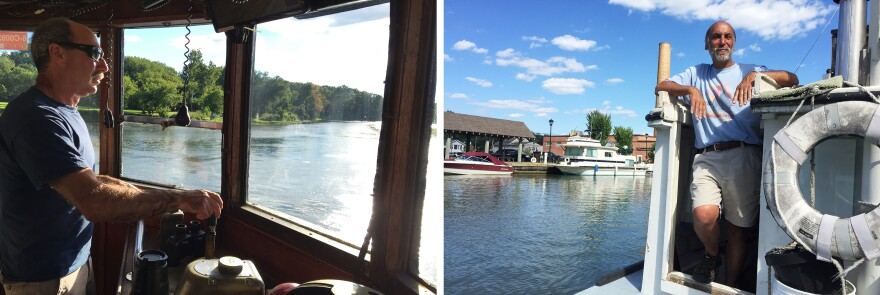 (Left) Captain Mark Smith steers the tugboat Margot into the Erie Canal from the Hudson River. (Right) Art Cohn, co-founder of the Lake Champlain Maritime Museum, takes a break in Fairport, N.Y., from his tugboat trip along the Erie Canal to share the history of the canal's early days.