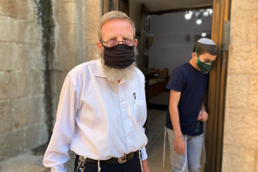 Yehezkel Cahn at the Ramban Synagogue in Jerusalem's Old City.
