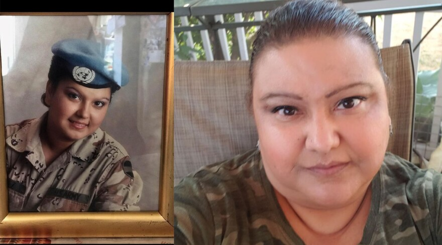 A side-by-side photo shows Patricia Ritchie in her Army uniform next to a picture of her currently in a camo shirt.