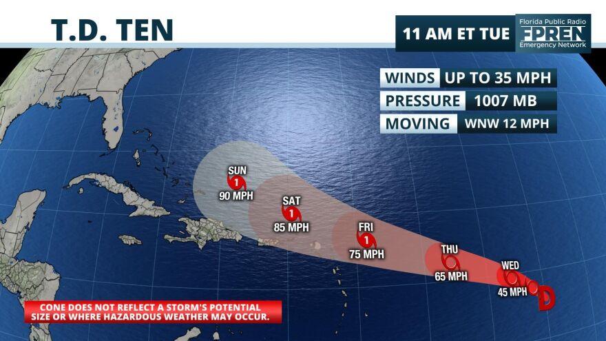 Tropical Depression Ten track