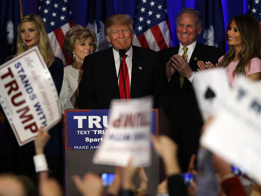 Republican presidential candidate Donald Trump speaks at his election night party February 20, 2016 in Spartanburg, South Carolina. The New York businessman won the first southern primary decisively.