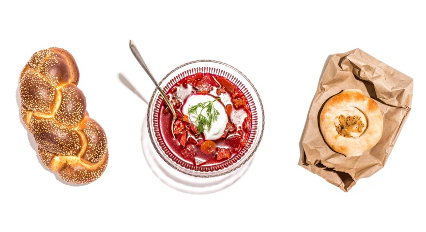 Challah, borscht and a bialy are among the items listed in <em>The 100 Most Jewish Foods.</em>