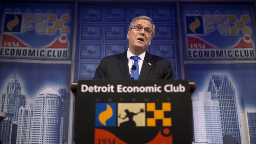 """Former Florida Gov. Jeb Bush speaks at an Economic Club of Detroit meeting on Wednesday. The Detroit event is the first in a series of stops that Bush's team is calling his """"Right to Rise"""" tour. That's also the name of the political action committee he formed in December 2014 to allow him to explore a presidential run."""