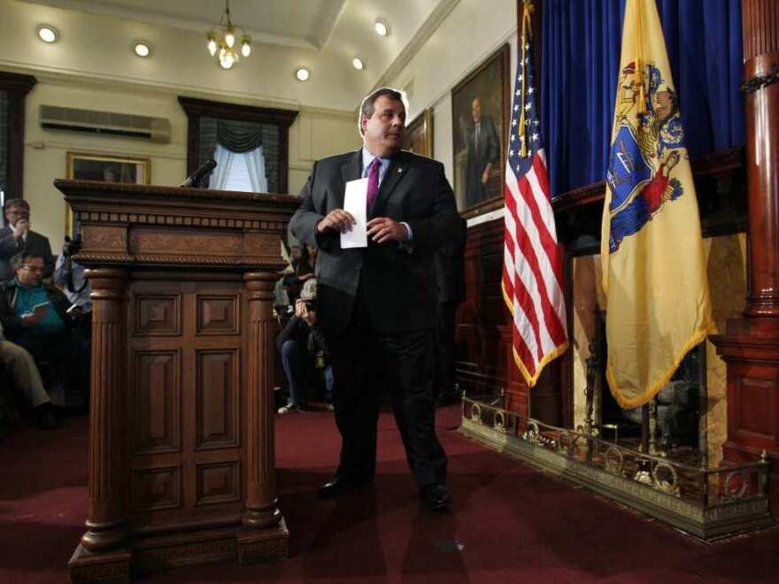 <p>New Jersey Gov. Chris Christie turns to leave a news conference at the Statehouse in Trenton on Tuesday after he announced that he will not run for president in 2012. </p>