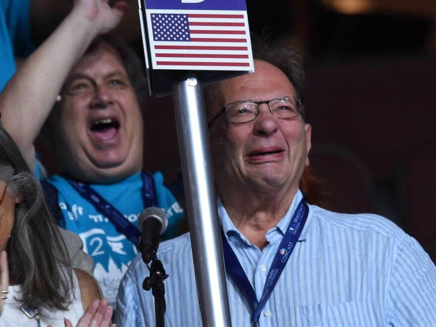 Larry Sanders tearfully casts a vote for this younger brother Bernie at the Democratic National Convention this summer.