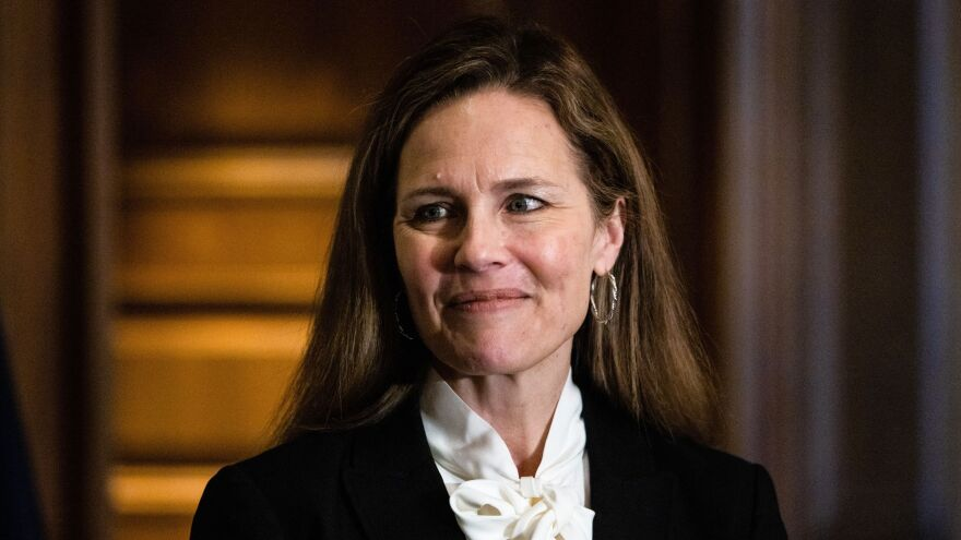 Judge Amy Coney Barrett, pictured on Capitol Hill on Oct. 1, is participating in her Supreme Court confirmation hearings this week.