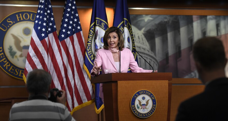 House Speaker Nancy Pelosi, D-Calif., speaks during her weekly news conference Thursday on Capitol Hill.