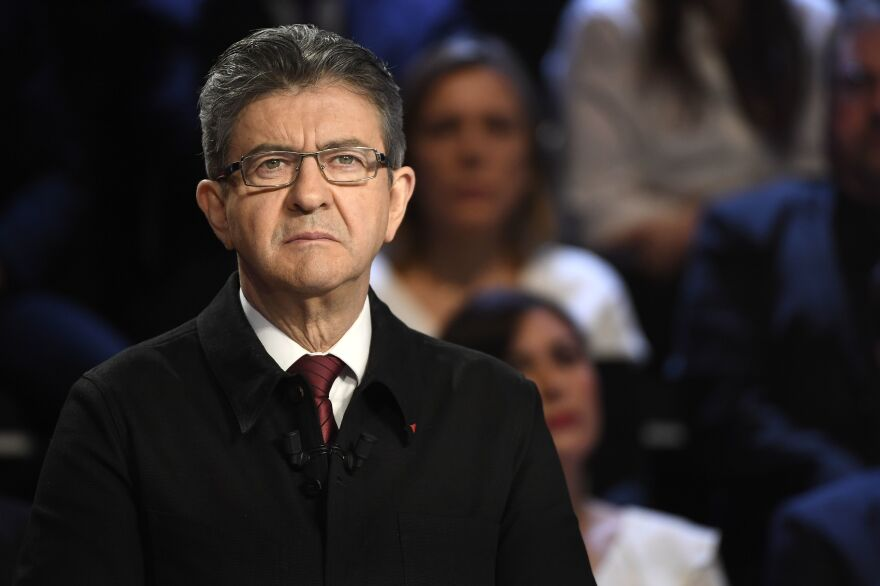 """Jean-Luc Melenchon is the presidential candidate for the far-left coalition La France Insoumise (""""Untamed France"""")."""