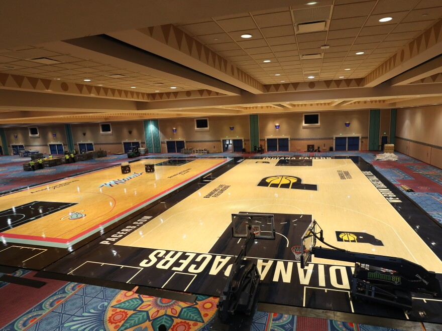 A general overview of the installation of the practice courts this week in Orlando, Fla., as part of the NBA season restart.