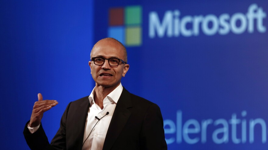 Microsoft CEO Satya Nadella addresses the media during an event in New Delhi in September. This week, he was criticized for comments he made about women asking for raises.
