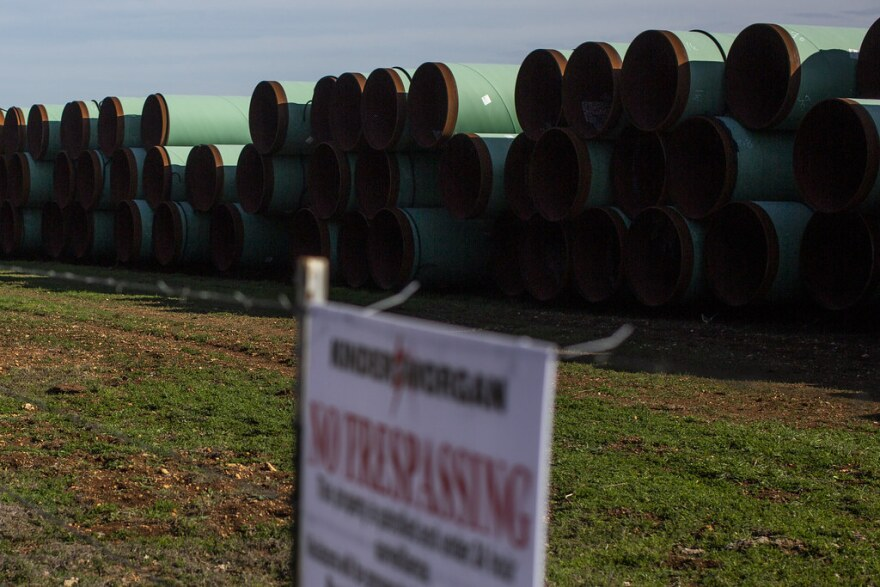 Pipes for Kinder Morgan's Permian Highway Pipeline are stacked in the Hill Country as the company begins work on the natural gas pipeline.