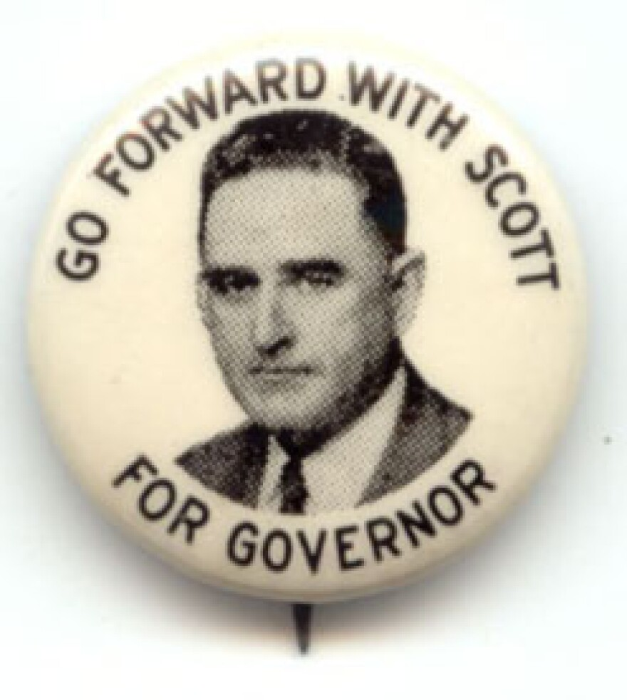 """Kerr Scott campaign button from 1948 with his slogan """"Go forward with Scott."""""""
