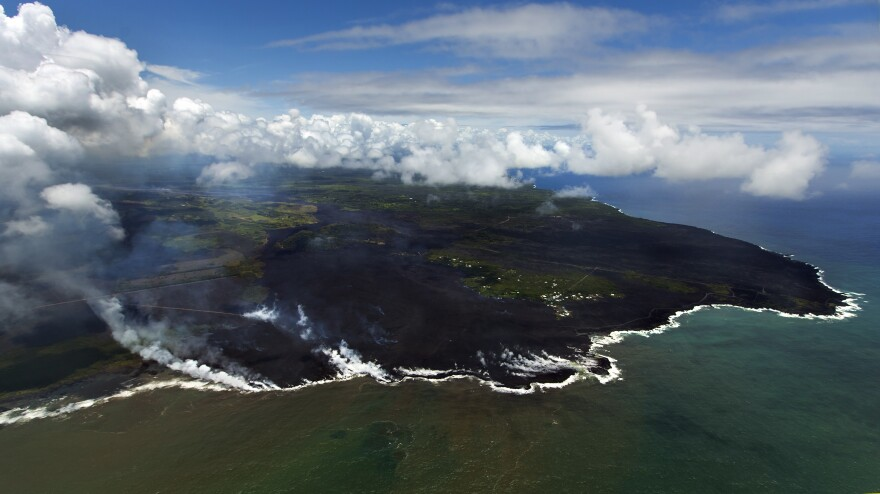 Most of the Kapoho area including the tide pools is now covered in fresh lava with few properties still intact as Kilauea's lower East Rift Zone eruption continues on Wednesday in Pahoa, Hawaii.