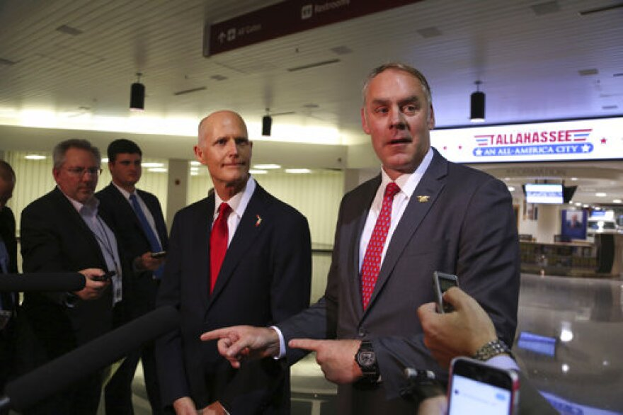 Gov. Rick Scott and U.S. Department of the Interior Secretary Ryan Zinke, announce there will be no new offshore drilling in the State of Florida. Both met at the Tallahassee International Airport on Jan. 9