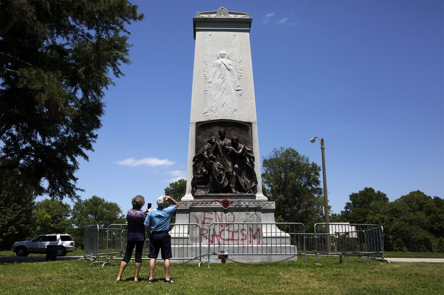 People visit the Confederate Memorial on May 31, 2017.