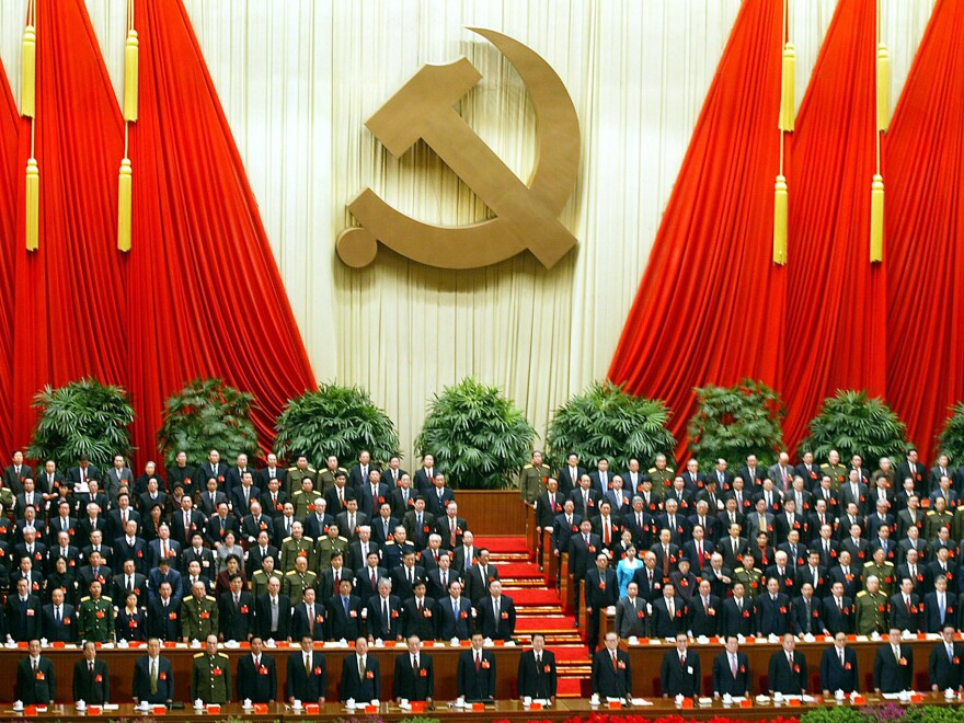 China's Communist Party elite stand at the 16th Party Congress in Beijing in November 2002, the last time the country underwent a sweeping generational change of leadership. A transition is slated to occur again this month.