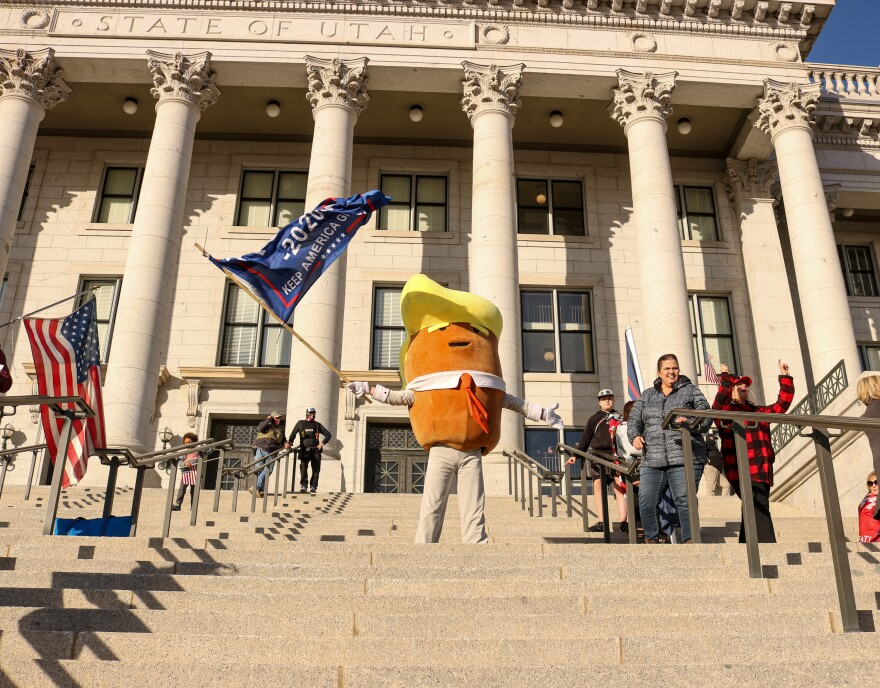 Trump supporters gathered at the Utah Capitol building on Wednesday.
