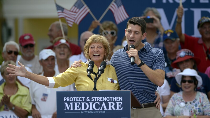Republican vice presidential candidate Paul Ryan campaigns with his mother, Betty Ryan Douglas, on Saturday in The Villages, Fla. The Mitt Romney campaign has created an ad from the event.