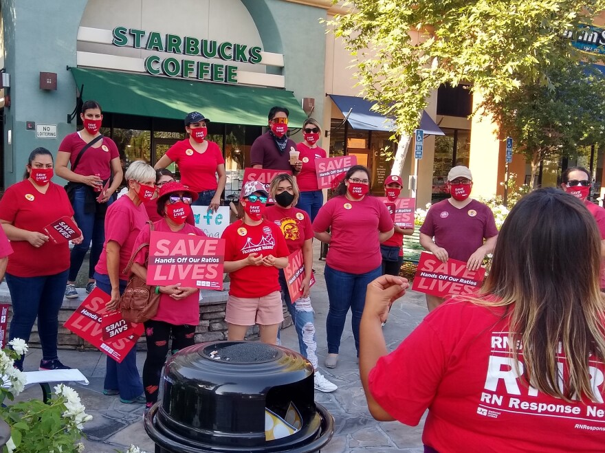 Unionized nurses in California held a rally Aug. 5 as part of a National Day of Action to increase awareness, they say, of ways nurse staffing ratios in hospitals can have an impact on patient safety.