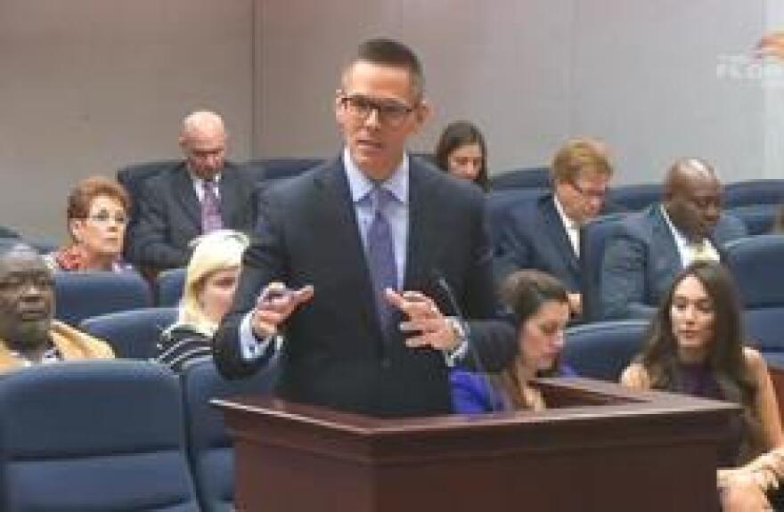 Rep. Ross Spano (R-Dover) speaking last week to members of the House Civil Justice and Claims Subcommittee.