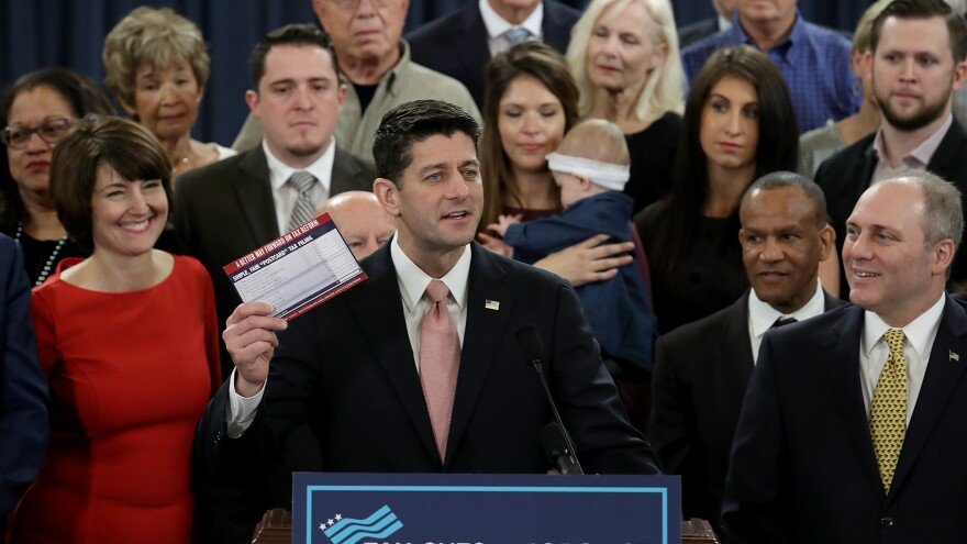 Speaker of the House Paul Ryan, surrounded by American families and members of the House Republican leadership, introduces tax reform legislation on Thursday in Washington, D.C.