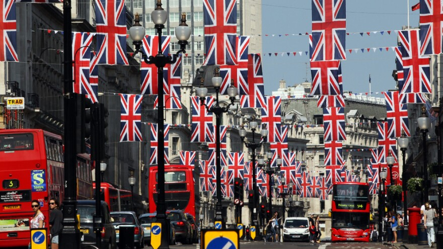 British Union Jack flags are all over Regent Street in London, as the city prepares for Friday's wedding.