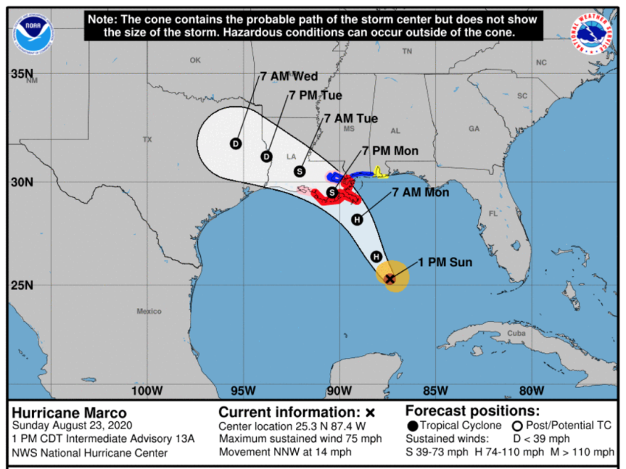 The probable track of Hurricane Marco, according to the National Hurricane Center.