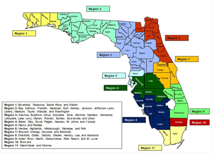 A map representing the 13 regions for Medicaid Managed Care