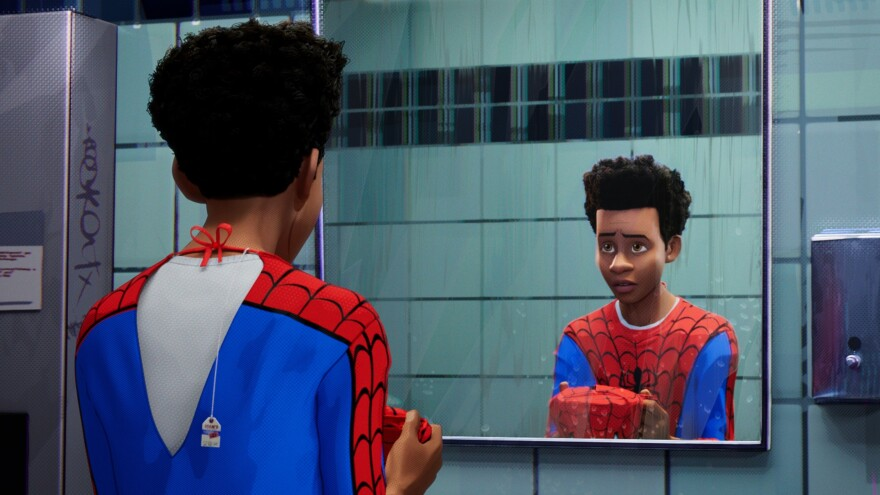 The Afro-Latino Brooklynite Miles Morales is one of many characters who don the mask in the 2018 film <em>Spider-Man: Into The Spider-Verse</em>.