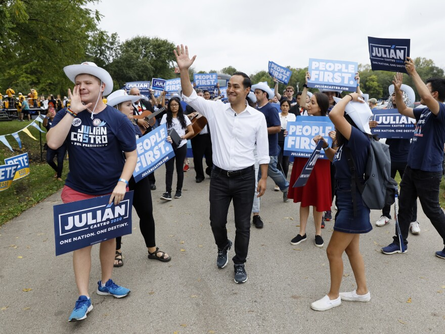 Democratic presidential candidate and former U.S. Secretary of Housing and Urban Development Julián Castro marches with supporters during the Polk County Democrats Steak Fry, on Sept. 21, 2019, in Des Moines, Iowa.