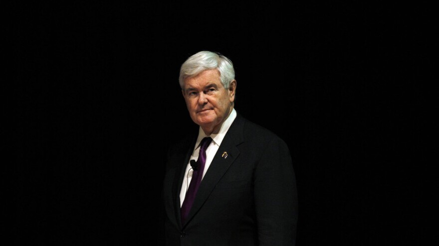 Newt Gingrich speaks at Marquette University in Milwaukee on March 29.