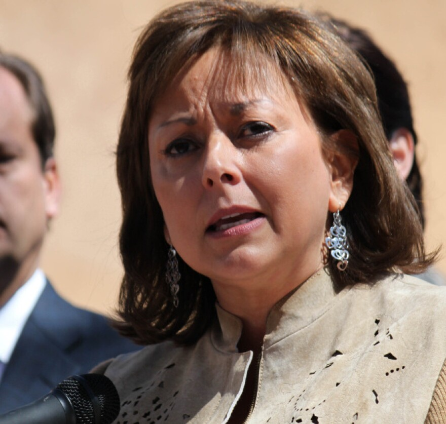 Gov. Susana Martinez speaking at a news conference. Martinez is under fire by immigrants rights groups for her attempts to repeal a law that lets illegal immigrants get driver's licenses.