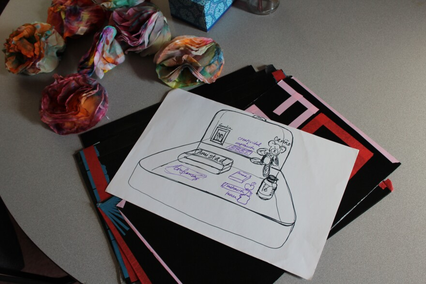 A metaphorical suitcase with all the things one might need to move on, this drawing is one of the examples Judy McGrath uses in her art therapy sessions with clients at St. Francis Community Center.
