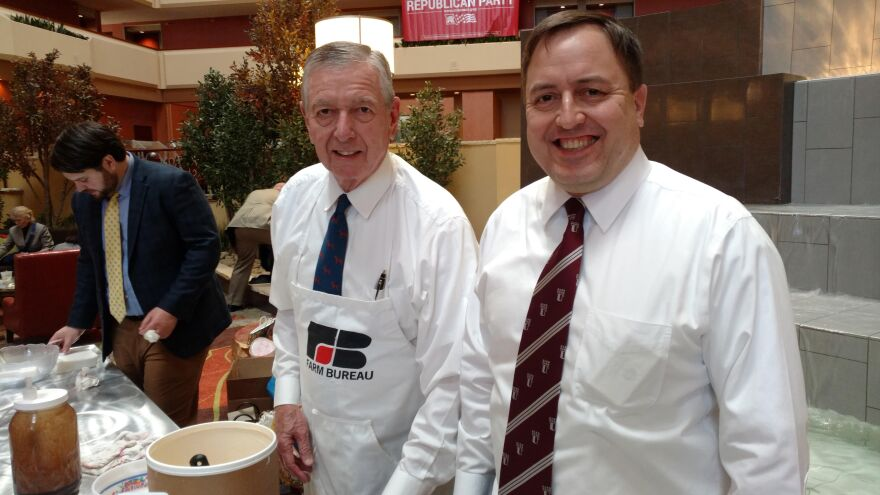 Secretary of State Jay Ashcroft hosted the ice cream social on Saturday, Feb. 25, 2017, a tradition begun by his dad, John Ashcroft (left), who is a party icon. John Ashcroft has served as Missouri's governor, a U.S. senator and U.S. attorney general.
