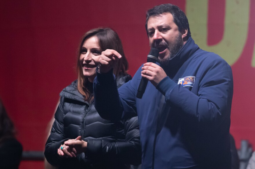 Lucia Borgonzoni and Matteo Salvini attend a political meeting of Lega italian political party at Town Hall Square on January 23, 2020 in Bibbiano, Italy.