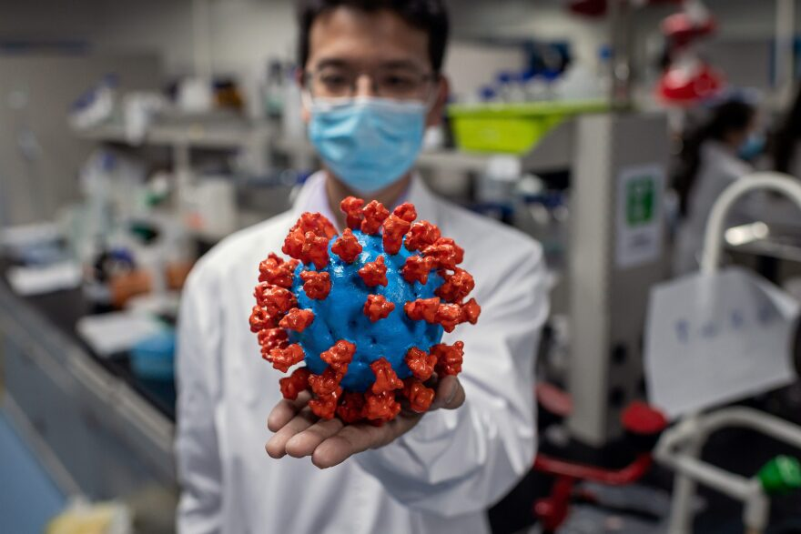 In this picture taken on April 29, 2020, an engineer shows a plastic model of the COVID-19 coronavirus at the Quality Control Laboratory at the Sinovac Biotech facilities in Beijing.(NICOLAS ASFOURI/AFP via Getty Images)
