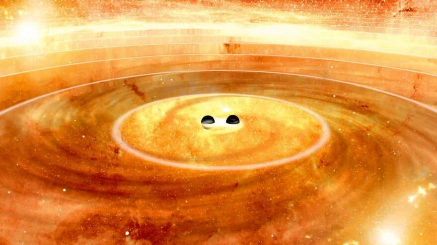 Researchers are rumored to have seen ripples in space-time from the collision of two black holes (artist's depiction).