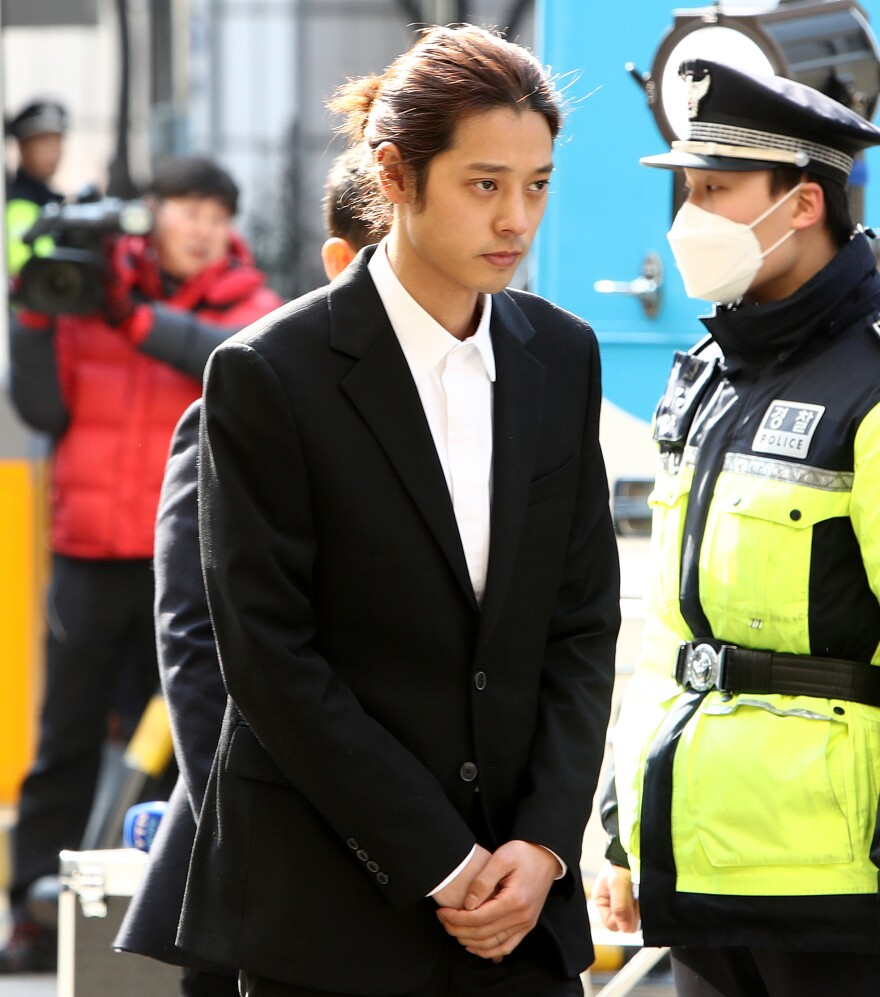 Jung Joon-young, arriving at the Seoul Metropolitan Police Agency on March 14, 2019.