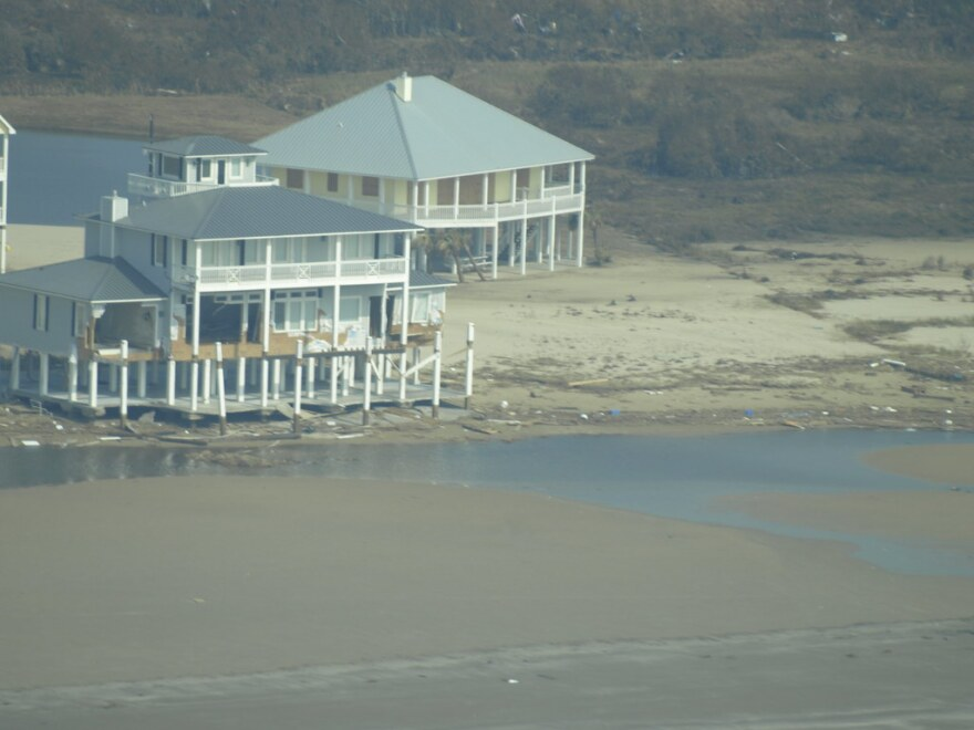 Homes along the Gulf Coast in Galveston after Hurricane Ike in 2008.