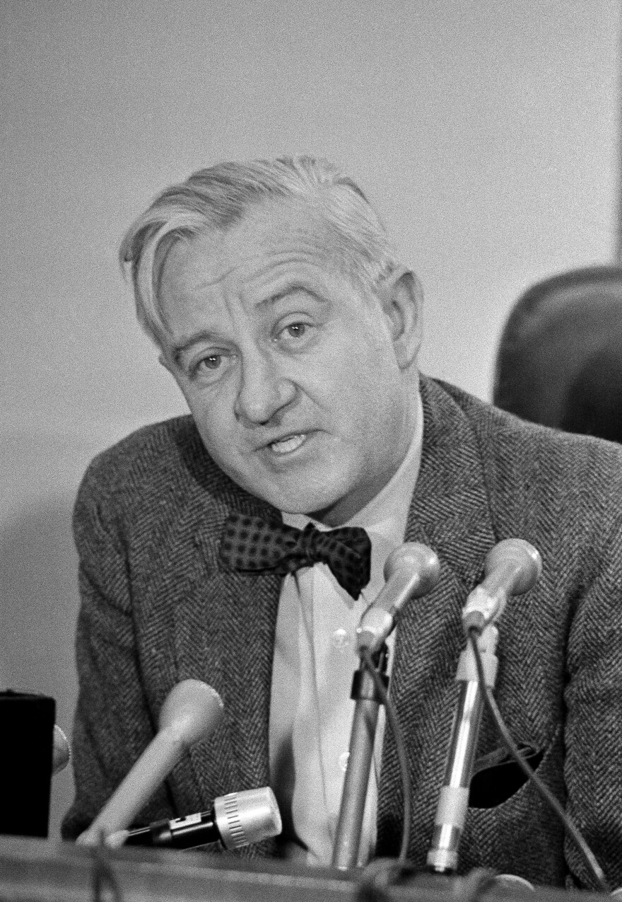 John Paul Stevens, then 55, talks to reporters in Chicago on Nov. 28, 1975, after being nominated by President Gerald Ford to the U.S. Supreme Court.