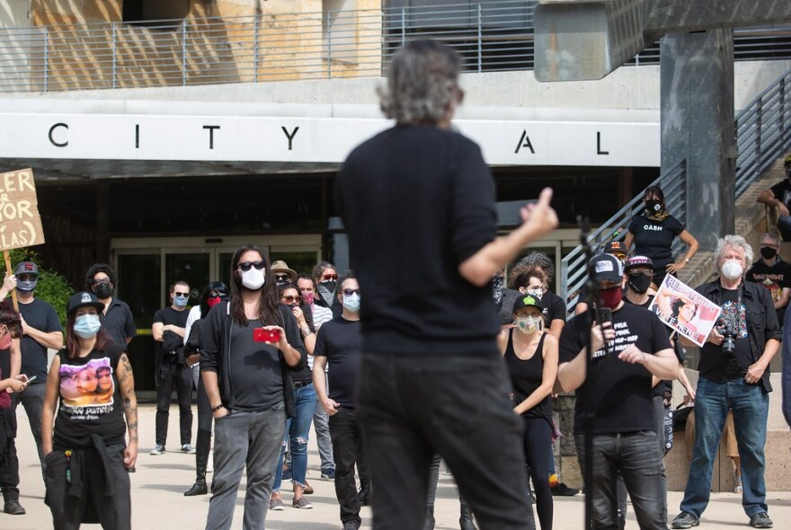 Pat Buchta, executive director of the nonprofit Austin Texas Musicians, demands City Council put millions into a fund to help save Austin music venues.