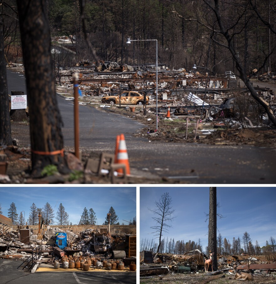 The Camp Fire was the most destructive wildfire in California's history. The fire leveled homes in the Ridgewood Mobile Home Park, (top and bottom right), leaving behind debris as seen in these photos taken six months later. The Safeway at Old Town Plaza in Paradise (bottom left) was destroyed.