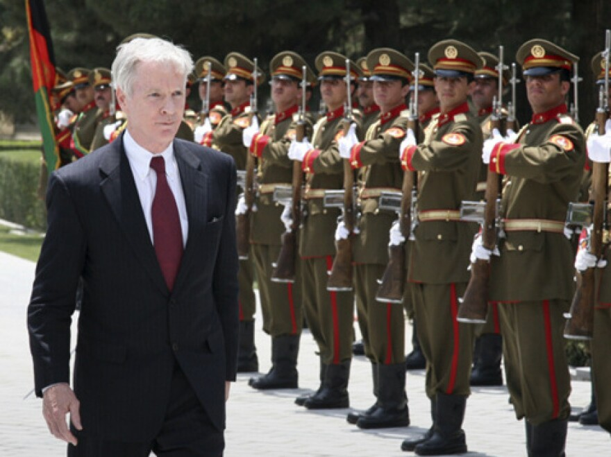 """Ryan Crocker, the U.S. ambassador to Afghanistan (shown here in a file photo from July 2010), says that while he understands Americans' feeling of war fatigue, leaving Afghanistan would have a far worse consequence: """"If we think the war is expensive — and it is — it is a lot cheaper than another 9/11."""""""