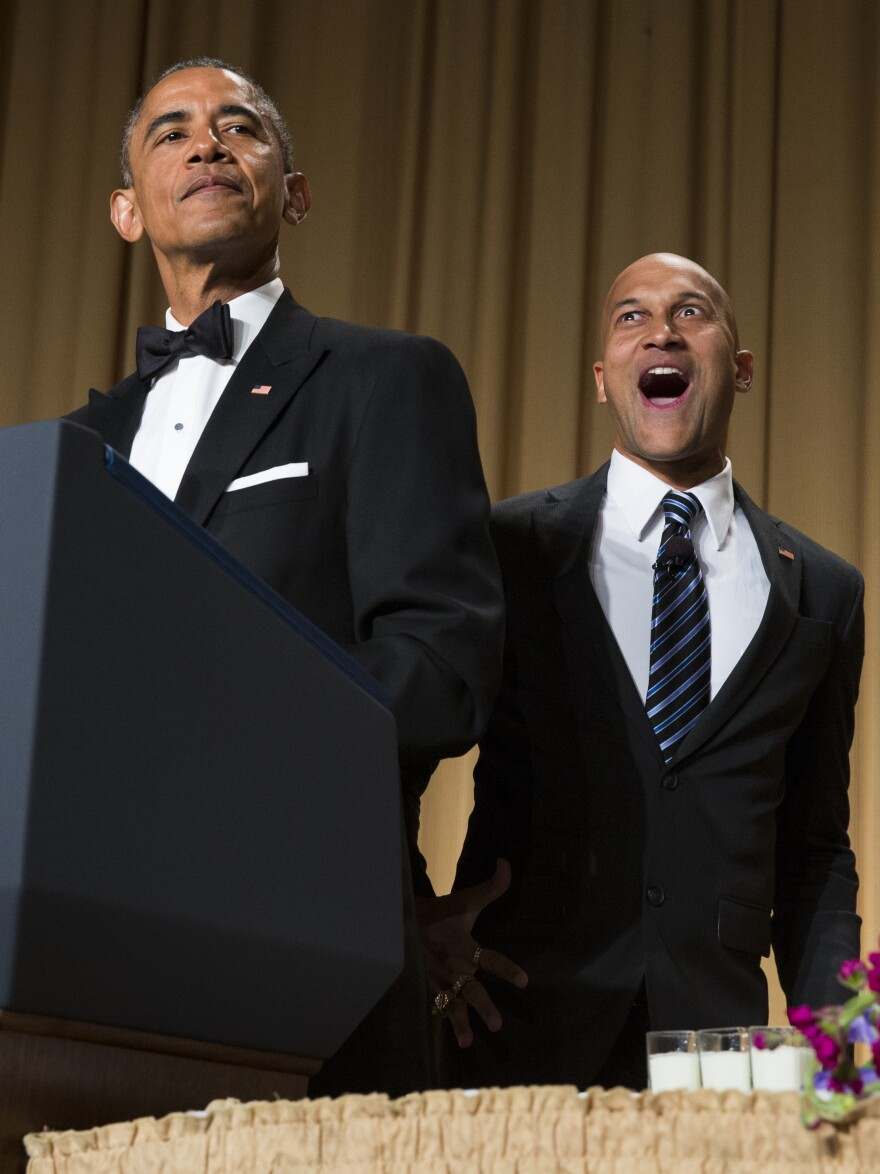"""President Barack Obama brings out actor Keegan-Michael Key from Key & Peele to play Luther, Obama's """"Anger Translator"""" during the White House Correspondents dinner."""